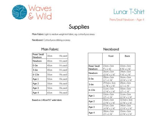 Waves and Wild Lunar T-Shirt Envelope Neck Supplies Information