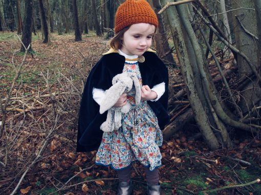 Waves and Wild Storybook Cape girl cloak length with arm slits