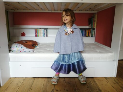 Waves and Wild Storybook Cape girl wearing grey and blue