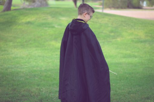Waves and Wild Storybook Cape Hufflepuff robe from behind