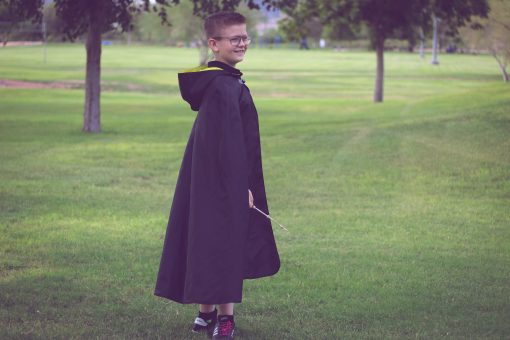Waves and Wild Storybook Cape Hufflepuff robe from side