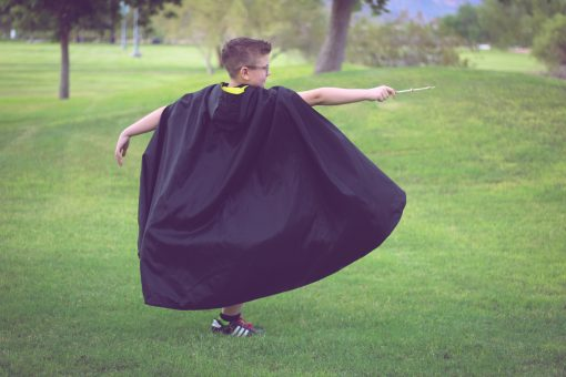 Waves and Wild Storybook Cape Hufflepuff robe spell to side