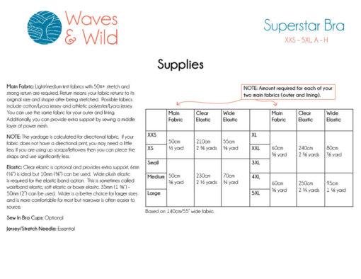 Superstar bra supplies information